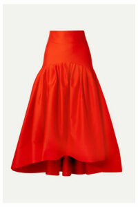 Rosie Assoulin - Brush Tiered Pleated Cotton-poplin Midi Skirt - Tomato red