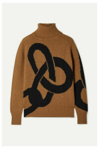 Victoria Beckham - Intarsia Cashmere Turtleneck Sweater - Light brown