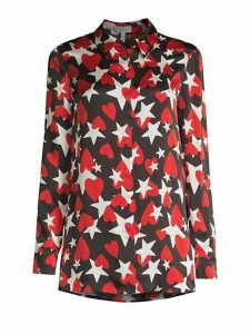 Heart & Star Print Silk Button-Down Shirt