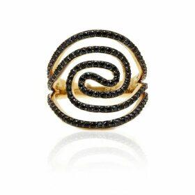 Savage & Rose - Artesian Black 18K Yellow Gold Ring With Black Cz