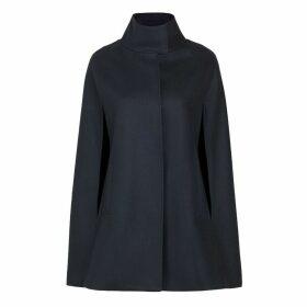 Allora - Wool Cashmere Single Breasted Cape Black