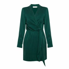 UNDRESS - Karla Sacramento Green Draped Mini Dress With Shawl Lapels