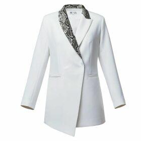 MUZA - Python-Print Trimmed White Blazer