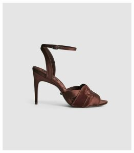 Reiss Amber - Velvet Strappy High Heeled Sandals in Chocolate, Womens, Size 8
