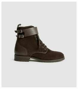 Reiss Artemis - Suede Hiker Boots in Chocolate, Womens, Size 8
