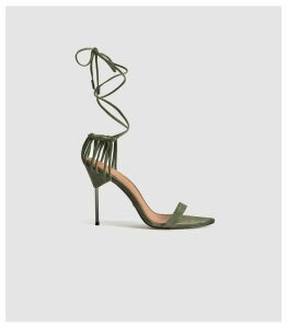 Reiss Zhane - Suede Strappy Wrap Sandals in Olive, Womens, Size 8