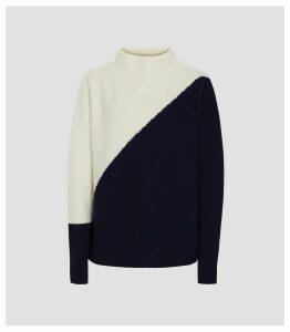 Reiss Lizzie - Cashmere & Wool Blend Jumper in Navy & White, Womens, Size XXL