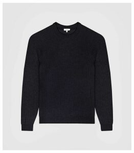 Reiss Jonathan - Ribbed Knit Jumper in Navy, Mens, Size XXL
