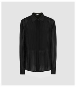 Reiss Em - Semi Sheer Striped Shirt in Black, Womens, Size 16