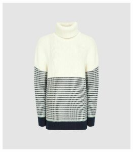 Reiss Mercy - Paneled Knitted Jumper in Navy & Cream, Womens, Size XXL