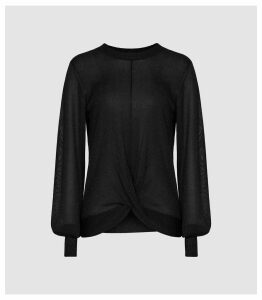 Reiss Steph - Metallic Twist Front Jumper in Black, Womens, Size XXL