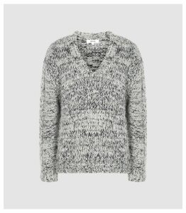 Reiss Flo - Textured V-neck Jumper in Grey, Womens, Size XXL
