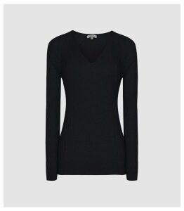 Reiss Elouise - Ribbed V-neck Jumper in Navy, Womens, Size XXL