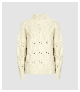 Reiss Eta - Funnel Neck Knitted Jumper in Neutral, Womens, Size XXL