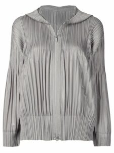 Pleats Please Issey Miyake Fluffy Basics pleated hoodie - Grey