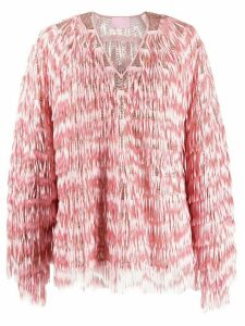 Giamba fringed sequin-embellished blouse - PINK