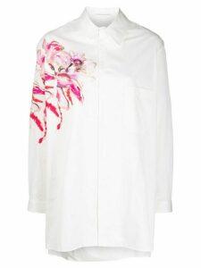 Yohji Yamamoto floral print longline shirt - White
