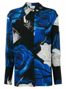 Alexander McQueen graphic rose-print shirt - Blue