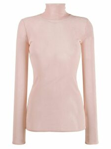 Alexandre Vauthier sheer roll neck sweater - PINK