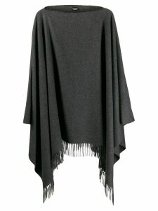 Moschino fringed hem knit poncho - Grey