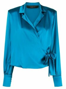Federica Tosi wrap front silk blouse - Blue
