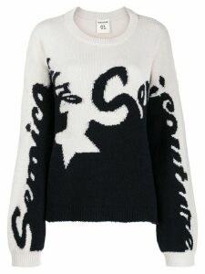 Semicouture logo two-tone knit sweater - White