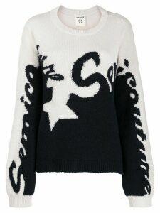 Semicouture logo two-tone knit sweater - White