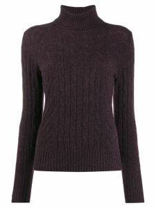 N.Peal cable knit roll neck jumper - PURPLE