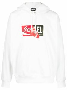 Diesel Recycled fabric hoodie with double logo print - White