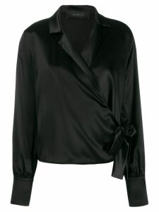 Federica Tosi satin wrap blouse - Black