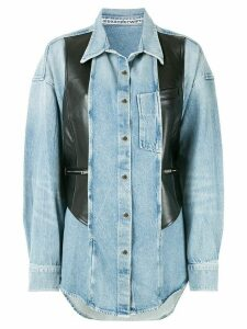 Alexander Wang leather panel denim shirt - Blue