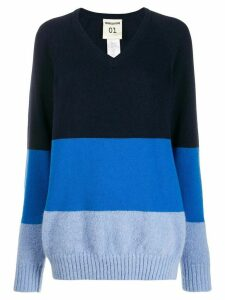 Semicouture three-tone knit sweater - Blue