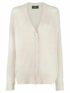 Maison Flaneur long cashmere cardigan - White