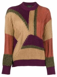Roberto Collina panelled colour block jumper - Brown