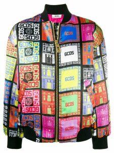 Gcds logo print bomber jacket - Black