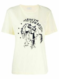Sandro Paris embroidered 'Ride'em Cowboy' T-shirt - Yellow