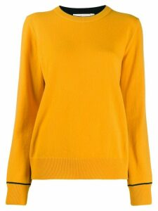 Tory Burch cashmere embroidered logo pullover - Orange