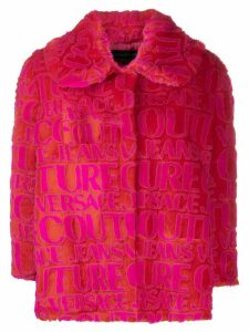 Versace Jeans Couture logo faux fur jacket - Red
