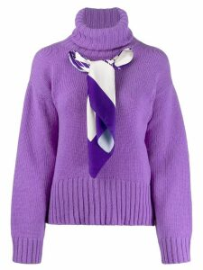 Jejia scarf-detail knit sweater - PURPLE