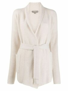 N.Peal cashmere belted cardigan - NEUTRALS