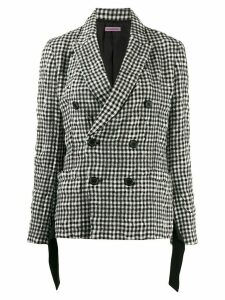 Sueundercover checked double breasted blazer - Black