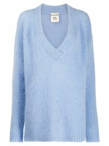 Semicouture oversized v-neck knit sweater - Blue