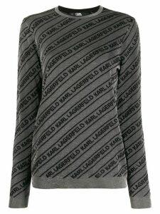 Karl Lagerfeld logo intarsia-knit jumper - Silver