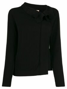 Twin-Set ruffled neck cardigan - Black