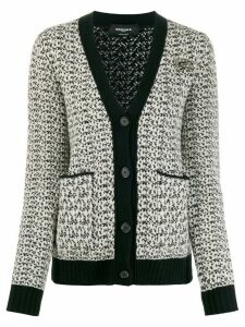 Rochas monogram logo badge cardigan - Black