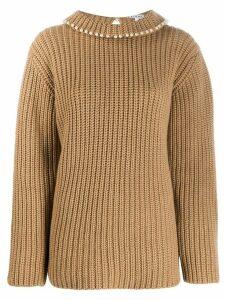 Loewe faux-pearl embellished cashmere jumper - NEUTRALS