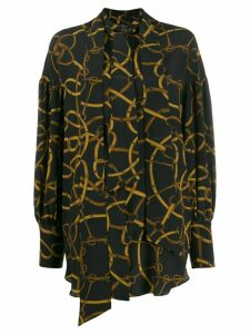 Rokh chain print long-sleeve blouse - Black