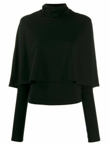 Sara Battaglia cape-detail roll-neck jumper - Black