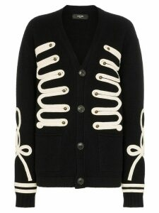 Amiri appliqued wool and cashmere-blend cardigan - Black