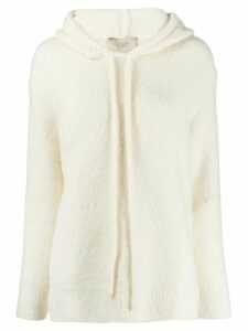 Maison Flaneur hooded knit jumper - White